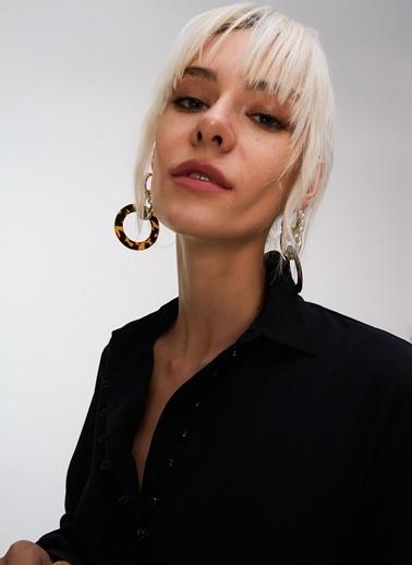 People By Fabrika Düğme Detaylı Bluz Siyah
